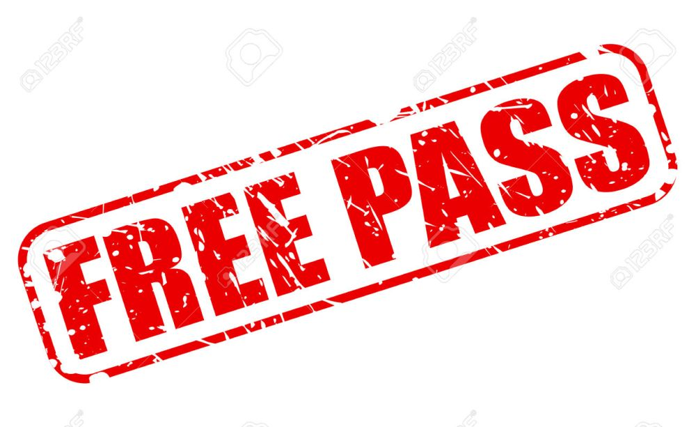 Free pass red stamp text